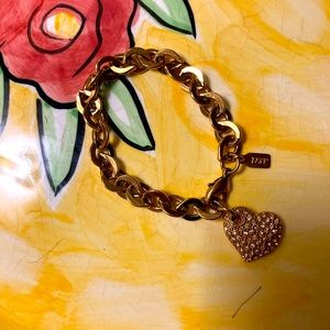 1928 jewelry collection heart tag chain bracelet